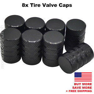 8x Universal Tire Valve Stem Caps For Car Truck Standard Fitting Black