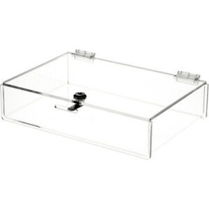 Plymor Clear Acrylic Locking Countertop Display Case 2 75 H X 12 W X 8 D