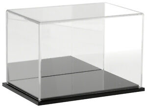 Plymor Clear Acrylic Case W Black Base mirror Back 9 W X 6 D X 6 H