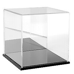 Plymor Clear Acrylic Display Case With Black Base mirror Back 8 X 8 X 8
