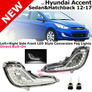 For 2012 2017 Hyundai Accent Sedan Hatchback Front Bumper Fog Light Clear Led