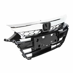 For Honda Accord 2018 2019 Chrome Front Upper Lower Bumper Grilles Grill Set