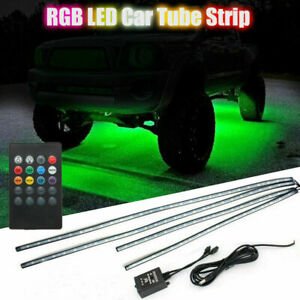 8 Color Led Strip Under Car Tube Underglow Underbody System Neon Lights Kits