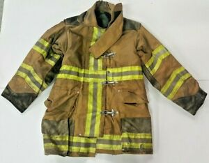 36x35 Globe Firefighter Brown Turnout Jacket Coat With Yellow Tape J837