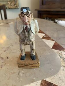 Vintage Wooden Hand Painted Carved Ears Nose And Throat Doctor Statue