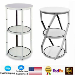 41 7 Round Portable Aluminum Spiral Tower Display Case White For Trade Show Us