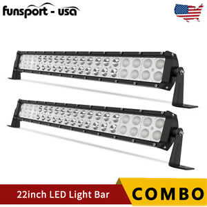 2x 22inch 240w Led Work Light Bar Flood Spot Combo Fog Lamp Off Road Driving Atv