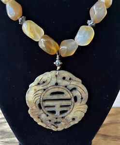 Vintage Chinese Quartz Bead Necklace W Antique Carved Jade Pendant Hong Kong