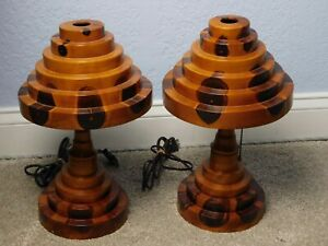 Pair Of Vintage Brazilian Butterfly Turned Wood Table Lamps W Matching Shades