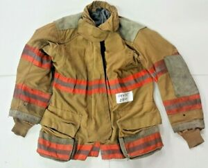 44x35 Cairns Firefighter Brown Turnout Jacket Coat With Orange Tape J844