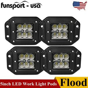 4x 5inch 24w Flush Mount Led Work Light Bar Offroad Pods Flood Beam Bumper Truck