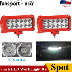 2x 7inch 36w Led Work Light Bar Spot Offroad Atv Truck Lamp 4wd Suv 12v 24v Red