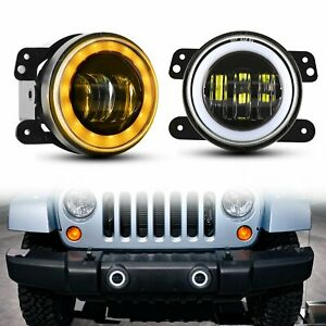 Pair 4 inch Round Led Fog Lights Driving Lamp Halo Drl For Jeep Wrangler Jk Tj