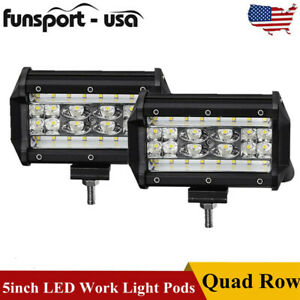 5inch 12v 168w Led Work Light Bar Flood Combo Pods Driving Off Road Tractor 4wd