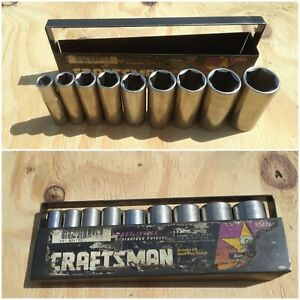 Vintage Craftsman 34784 9pc 3 8 Dr Sae Deep Socket Set 3 8 7 8 6pt W tray