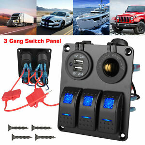 3 Gang Toggle Rocker Switch Panel With Usb For Car Boat Marine Rv Truck Blue Led