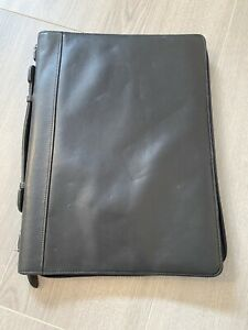 Black Wilson Genuine Leather Portfolio Cover 13 x 9 5 Zippered Legal Pad Cover