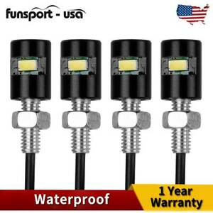 4x Universal License Plate Light Motorcycle Car 5730 Smd Screw Bolt Lamp Bulbs