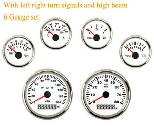 6 Gauge Set With Sender 200mph Speedometer Tacho Fuel Temp Volt Oil For 12v 24v