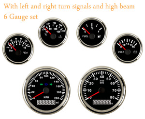 6 Gauge Set 200mph Speedometer Tacho Fuel Temp Volt Oil 12v 24v Red Backlight