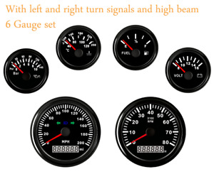 6 Gauge Set 200mph Speedometer Tacho Fuel Temperature Volt Oil 12v 24v Red Led