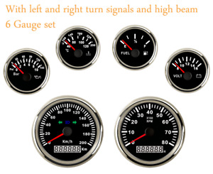 6 Gauge Sets 200kph Speedometer Tachometer Fuel Temp Volt Oil 12v 24v Red Led