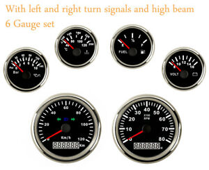 6 Gauge Set 120kph Speedometer Tachometer Fuel Temp Volt Oil 12v 24v Red Led