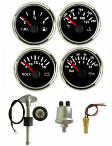 4 Gauge Set With Sender fuel Gauge oil volt water Temp 52mm 2inch black 12v 24v