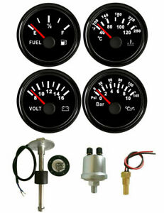 4 Gauge Set With Sender fuel Gauge oil volt water Temp black 52mm 2inch 12v 24v