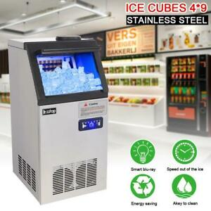Upgrade 110lbs Auto Commercial Ice Cube Maker Machine Stainless Steel Bar 50kg