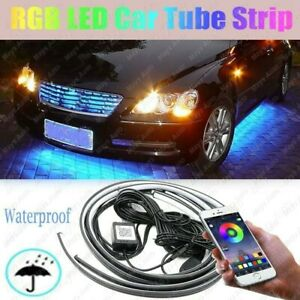 Universal Car Underbody Rgb Led Tube Strip Underglow Neon Light Kit App Control