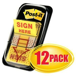 Post it Flags In Dispenser sign Here 12 50 flag Dispensers mmm680sh12
