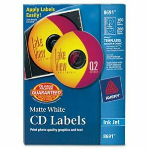 Avery Ink Jet Cd dvd Disc Labels Matte White 100 pack ave8691