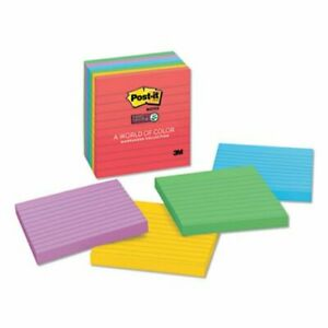 Post it Super Sticky Notes 4 X 4 Lined Marrakesh Colors 6 Pads mmm6756ssan