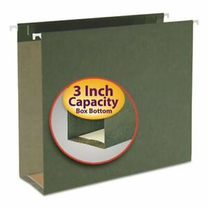 Smead 3 Capacity Box Hanging File Folders Letter Green 25 Per Box smd64279