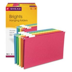 Smead Hanging File Folders 1 5 Tab Legal Assorted Colors 25 box smd64159