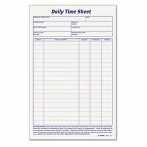Tops Daily Time And Job Sheets 6 X 9 1 2 100 pad 2 pack top30041