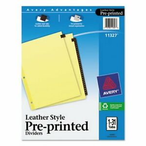 Avery Reinforced Pre printed Leather Tab Divider 1 31 Red 31 Tabs ave11327