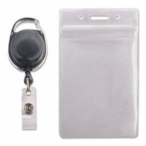 Clear Resealable Vertical Id Badge Holder Cord Reel 10 Holders avt91129