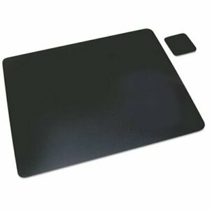 Artistic Leather Desk Pad With Coaster 19 X 24 Black aop1924le