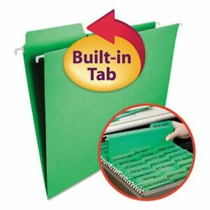Smead Fastab Hanging File Folders Letter Green 20 box smd64098