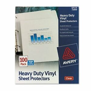 Avery Vinyl Sheet Protectors Heavy Gauge Letter Clear 100 Per Box ave73900