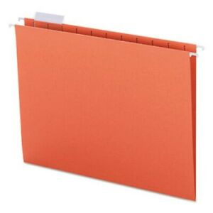 Smead Hanging File Folders 1 5 Tab Letter Orange 25 Folders smd64065