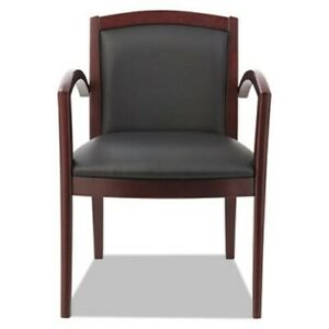 Alera Reception Lounge Series Guest Chair Mahogany black Leather alerl5219m