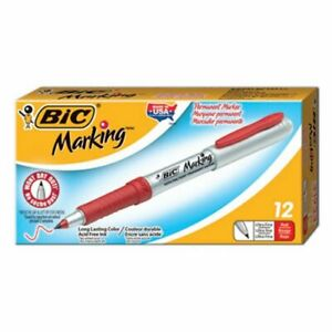 Bic Mark it Permanent Markers Ultra fine Point Red 12 Markers bicgpmu11rd