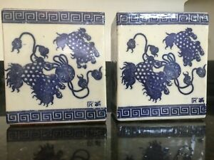 Fantastic 19th C Chinese Blue White Porcelain Opium Pillow Pair Signed Mb140