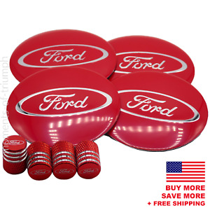 Ford Wheel Center Hub Cap Sticker Decal 2 2 Ford Tire Valve Caps red