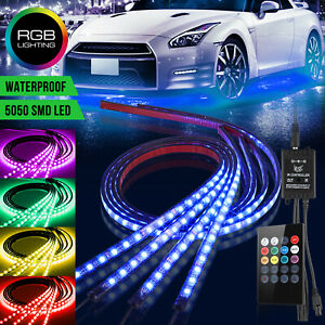 4pcs Rgb 8 Color Car Truck Underglow Under Body Neon Accent Glow Led Lights Kit