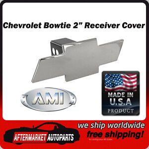 Chevrolet Bowtie Polished Billet Aluminum 2 Tow Hitch Receiver Cover Ami 1036