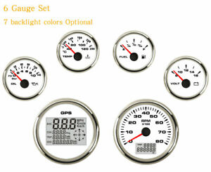 6 Gauge Set mph Kph Speedometer tacho fuel temp volts oil 7 Colors Led usa Stock